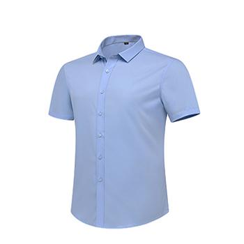 竹纤维短袖衬衫  男女款  蓝白双色