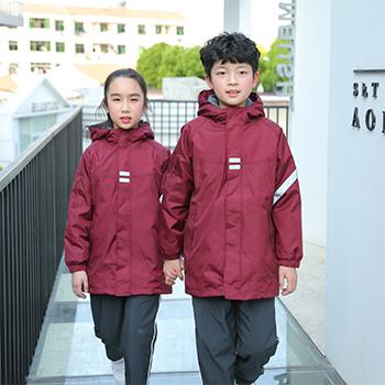 国际学校高端冲锋衣  高亮反光条  三色可选